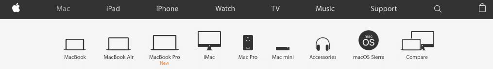 Apple Website Navigation